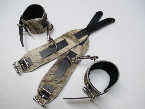Cream/Brown Hair on Hide Leather 4 Piece Restraint Cuffs Set (Wrist & Ankles (HOH8)